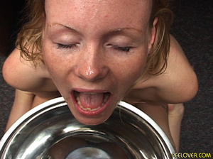 The whole bowl of pee drunk by blonde after doing the hottest blowjob! - XXXonXXX - Pic 3
