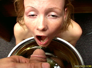 The whole bowl of pee drunk by blonde after doing the hottest blowjob! - XXXonXXX - Pic 10