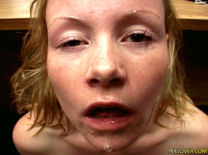 The whole bowl of pee drunk by blonde after doing the hottest blowjob! - XXXonXXX - Pic 14
