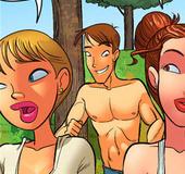 Sex hungry hunk following two naughty cartoon…