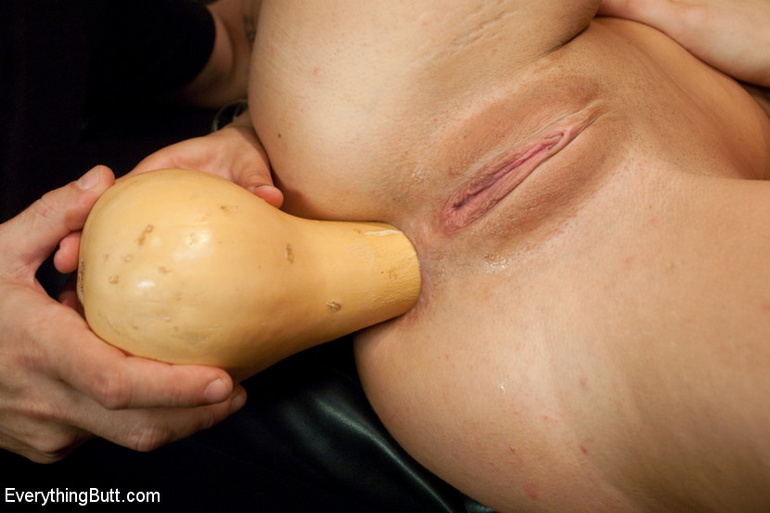 Huge anal vegetable insertions