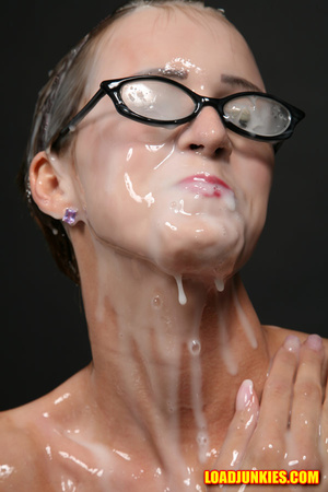 Nerdy babe with small tits and shaved pussy likes a lot of jizz on her face - XXXonXXX - Pic 10