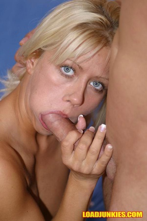 Horny blonde socking cock like mad and swallowing all the cum - XXXonXXX - Pic 2
