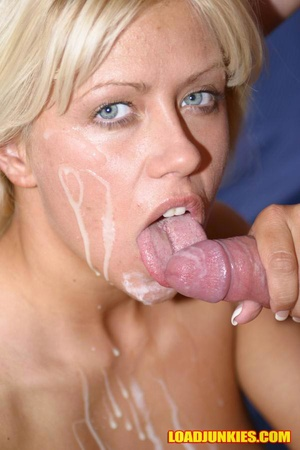 Horny blonde socking cock like mad and swallowing all the cum - XXXonXXX - Pic 12