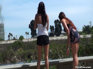 Damn! These two Latinas did their best to protect their bosom from impudent nude in public violator! - XXXonXXX - Pic 1