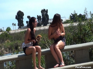 Damn! These two Latinas did their best to protect their bosom from impudent nude in public violator! - XXXonXXX - Pic 12