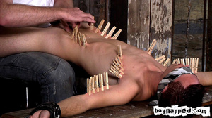 Squeezing all his limbs and buttocks with gay men clothes pins! - XXXonXXX - Pic 2