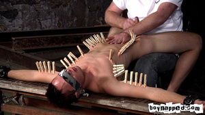 Squeezing all his limbs and buttocks with gay men clothes pins! - XXXonXXX - Pic 5