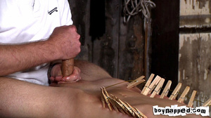 Squeezing all his limbs and buttocks with gay men clothes pins! - XXXonXXX - Pic 11
