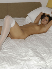 Blindfolded babe Sandra in white stockings and high heels spreads her .. - picture 17
