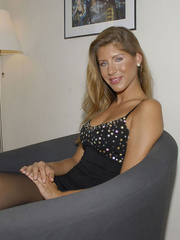 Awesome woman Jennifer in black underwear cut her pantyhose open to sh.. - picture 3