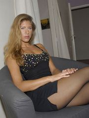 Awesome woman Jennifer in black underwear cut her pantyhose open to sh.. - picture 4