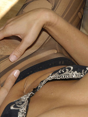 Awesome woman Jennifer in black underwear cut her pantyhose open to sh.. - picture 8