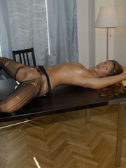 Awesome woman Jennifer in black underwear cut her pantyhose open to sh.. - picture 10