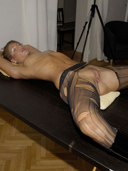Awesome woman Jennifer in black underwear cut her pantyhose open to sh.. - picture 16