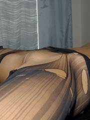 Awesome woman Jennifer in black underwear cut her pantyhose open to sh.. - picture 18