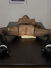 Awesome woman Jennifer in black underwear cut her pantyhose open to sh.. - picture 19
