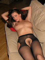 Fantastic Kyla in crotchless pantyhose gets her legs and hands roped o..