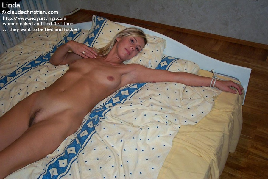 bed Xxx blonde tied to
