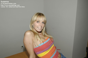 Super cute blonde Suzanna in sexy white  - XXX Dessert - Picture 1