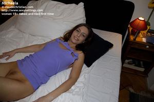 Sexy brunette Michaela in tight blue dre - XXX Dessert - Picture 6