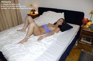 Sexy brunette Michaela in tight blue dre - XXX Dessert - Picture 9
