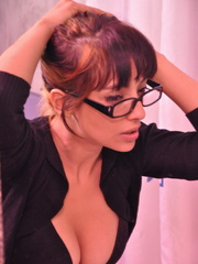 Cock hungry secreatry in glasses - Sexy Women in Lingerie - Picture 1