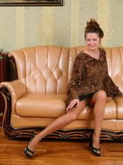 Bushy pussy brunette bimbo in tan - Sexy Women in Lingerie - Picture 1