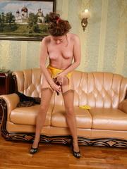 Bushy pussy brunette bimbo in tan - Sexy Women in Lingerie - Picture 5