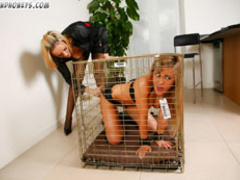 Humiliated in cage blonde slave chick gets collared and - Picture 2
