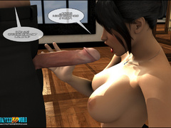 Busty dark haired 3d milf willingly getting naked and - Picture 10