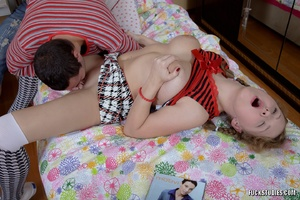 Pigtailed cute teenie in miniskirt and kneesocks likes hard pecker stretching her tight butt hole. - Picture 5