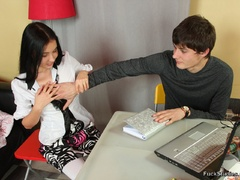 Dark haired beautiful teen chick sucks her bf's - XXXonXXX - Pic 2