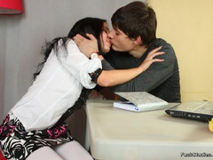 Dark haired beautiful teen chick sucks her bf's - XXXonXXX - Pic 3