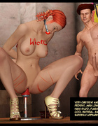Redhead gagballed 3d hottie forced to ride dildo and to pose while her