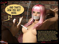 Gagged 3d beauty with pink hairs gets - BDSM Art Collection - Pic 3