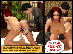 Redhead 3d milf gets her pussy dildoed while watching - Picture 7