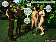 3d naked babes get cum covered by two guys in the - Picture 7