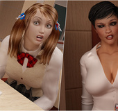 Busty 3d shemale teacher in black fishnet&hellip;