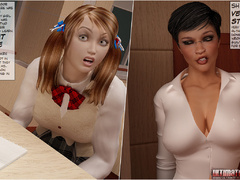 Busty 3d shemale teacher in black fishnet stockings - Picture 2