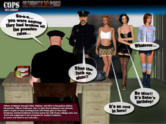 Three imprisoned 3d sluts teasing two police officers - Picture 1
