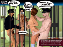 Three imprisoned 3d sluts teasing two police officers - Picture 9