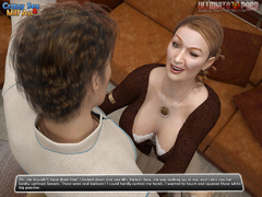 Busty brunettte 3d milf in white stockings gets her - Picture 3