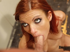 Hot red-haired slut with a collar gets her tight fresh - Picture 2