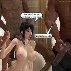 Two 3d black guys seduced white milf with enormous - Picture 1
