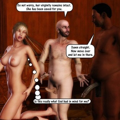 Blonde 3d beauty in red corser staying on her knees - Picture 1