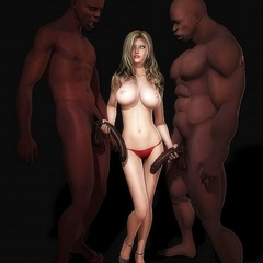Naked big tits white 3d girlfriends stroking black - Picture 3