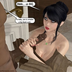 Nasty 3d white babes received huge black peckers in - Picture 2