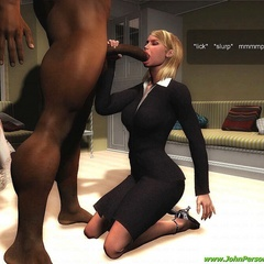 Nasty 3d white babes received huge black peckers in - Picture 3