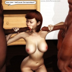 Two black cocks barely fit tight skillful mouth of 3d - Picture 1